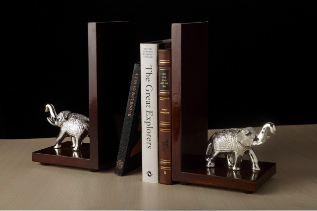 ELEPHANT BOOKEND - SILVER PLATED